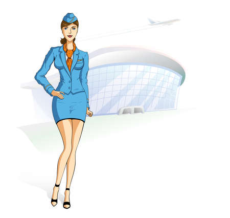 The stewardess in blue clothes. Stand against the airport. In the sky the plane flies.