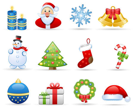 Icons set on a theme Christmas
