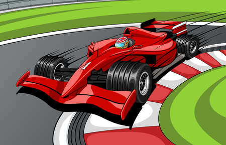 The red car the formula 1 on road. In movement. Vector