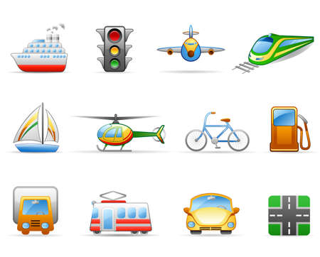 Icon set on a theme Transport