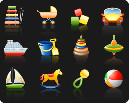 Icons set on a theme Toys_black background