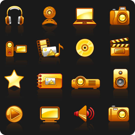 Set of icons on a theme Photo and Video_orange_black background
