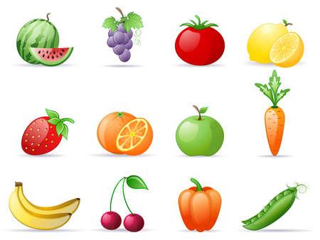 Fruit and  Vegetables icon set Çizim