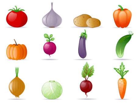 remolacha: Conjunto de icono de verduras Vectores