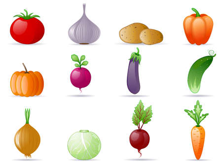 beet: Vegetables icon set Illustration