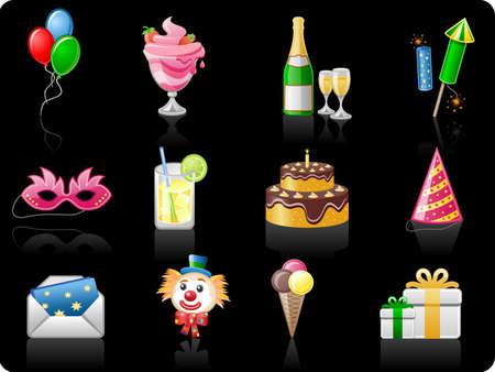 Birthday_black background  Icon set