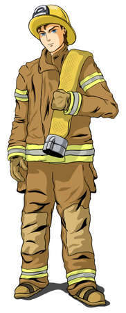 Firefighter in shape on a white background Vector