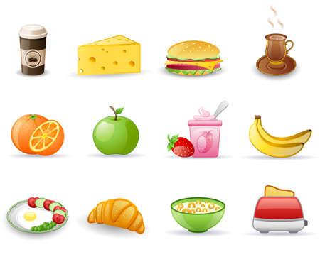 corn flakes: Breakfast icon set Illustration