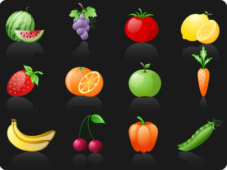 Fruit and Vegetables_black background icon set Stock Vector - 6298689