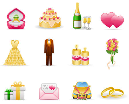 Wedding (Marriage) icon set Illustration