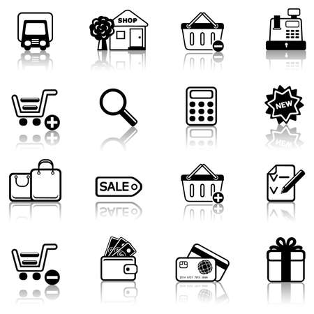 maquina registradora: 2 Conjunto de iconos de compras