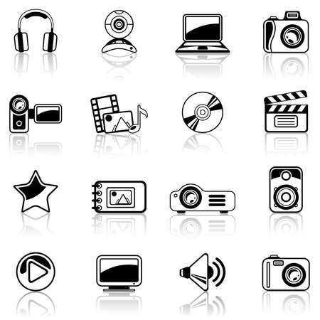 speaker system: Photo and Video black icon set Illustration