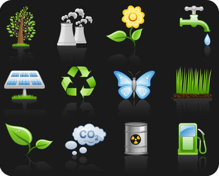 Environment_black background icon set Vector