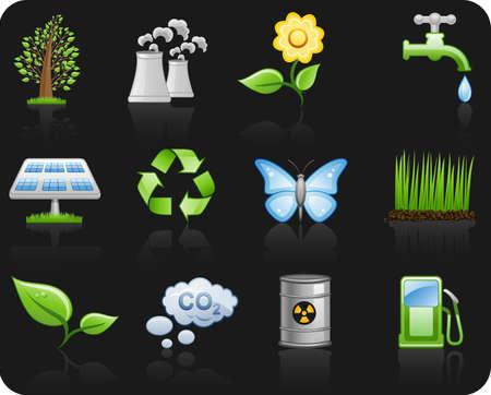 gaz: Environment_black background icon set Illustration
