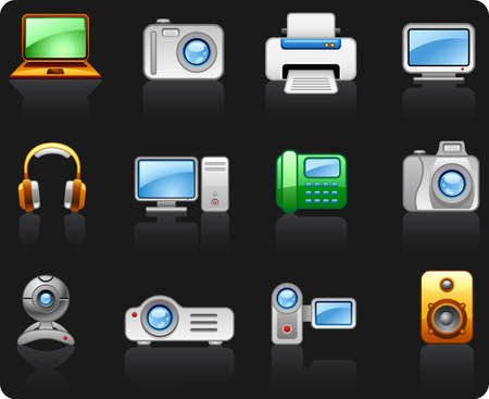 Electronics Computers Multimedia icon set Illustration