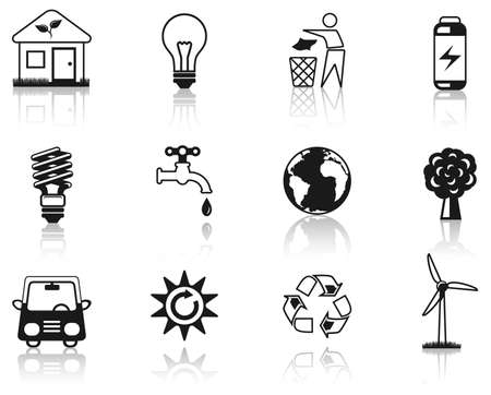 Environment black icon set Stock Vector - 6474665
