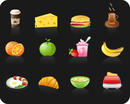 Breakfast black icon set