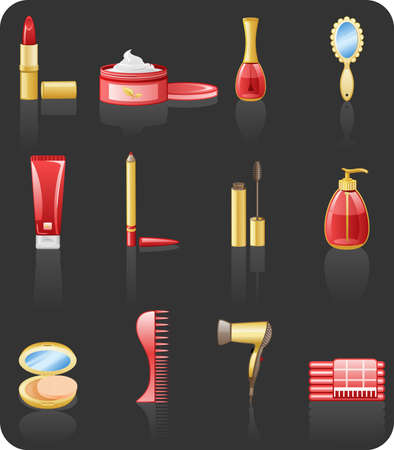 Beauty red icon set Stock Vector - 6721524