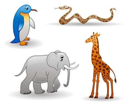 cartoon animals isolated on a white background Illustration