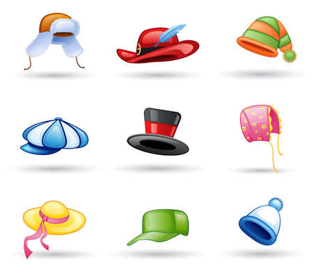 Headwear: cap, hat icon set. Isolated on a white background. Stock Vector - 7036039
