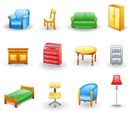 bedside: Conjunto de iconos de muebles. Aislado en un fondo blanco.
