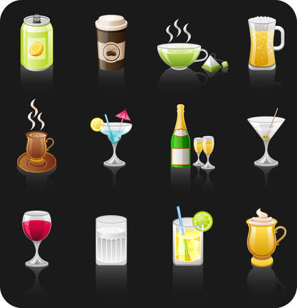 Drinks black icon set Illustration