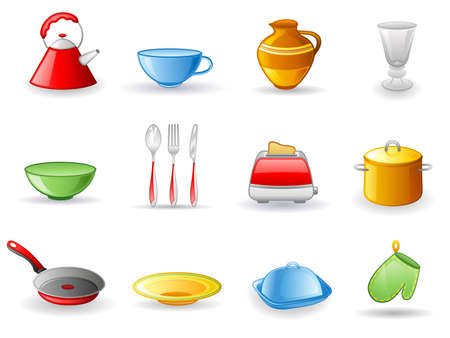 Kitchen utensil icon set.  Isolated on a white background. Vector