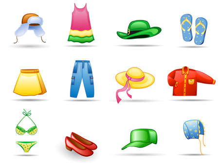 slipper: Clothes icon set.  Isolated on a white background.