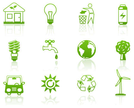 Milieu groene icon set  Stock Illustratie