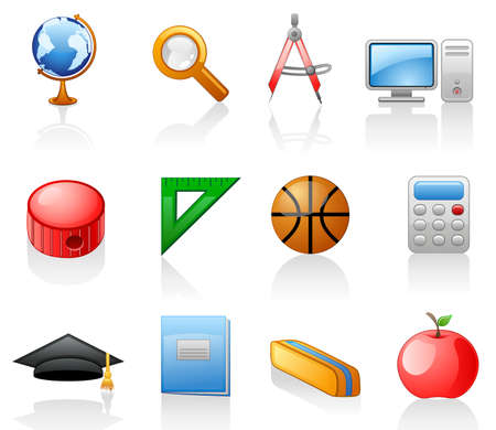 Education icon set.  Isolated on a white background. Stock Vector - 7353677