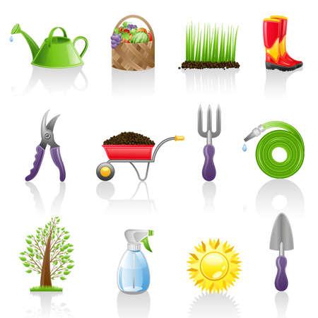 regando el jardin: Conjunto de iconos de jard�n. Aislado en un fondo blanco.  Vectores