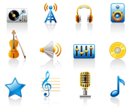 Music icon set.  Isolated on a white background. Vector