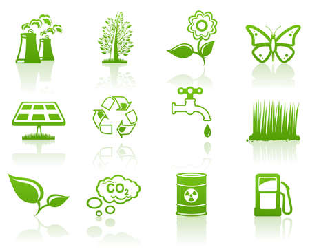 Environment green icon set  Stock Vector - 7581581
