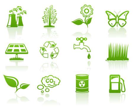 Environment green icon set Stock Vector - 7581581