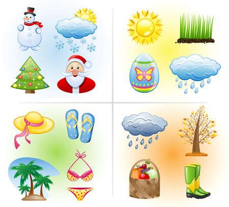 scarf beach: Seasons icon set: winter, spring, summer, autumn.