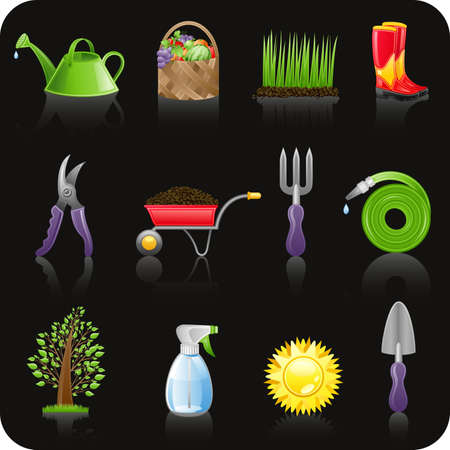 gardening equipment: Garden black icon set  Illustration