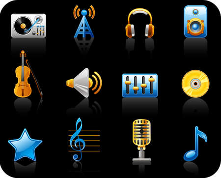 Music black background icon set.   Vector