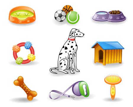 dalmata: Cane cura set di icone. Isolato su uno sfondo bianco.