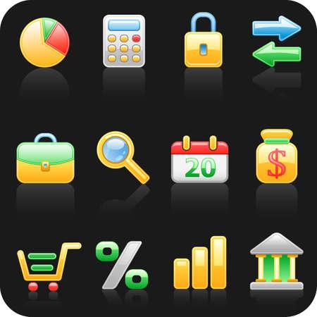 shoping bag: Finance_black backgrond icon set.