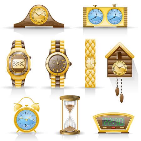 woman clock: Relojes aislados sobre fondo blanco.