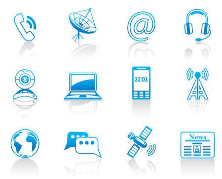 antena parabolica: Conjunto de iconos de comunicaci�n azul  Vectores
