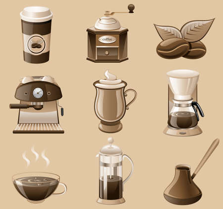 coffee mill: coffee icon set isolated on brown background. Illustration