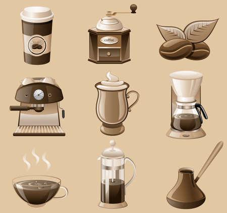 ic�ne de caf� d�finie isol� sur fond brun. Illustration