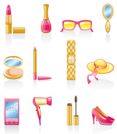 Women accessories isolated on white background. Stock Vector - 8805321