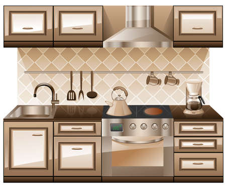 Kitchen furniture isolated on white background. Stock Vector - 8805322
