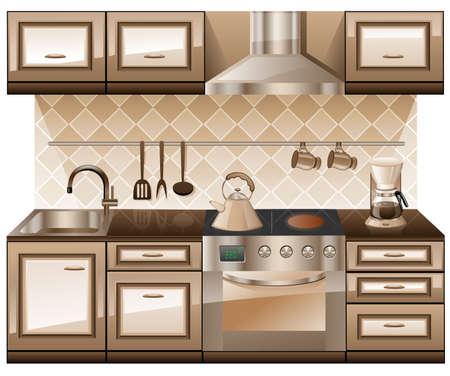 cassettiera: Mobili da cucina isolato su sfondo bianco. Vettoriali