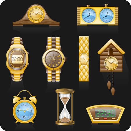 Watches isolated on black background. Stock Vector - 8905532