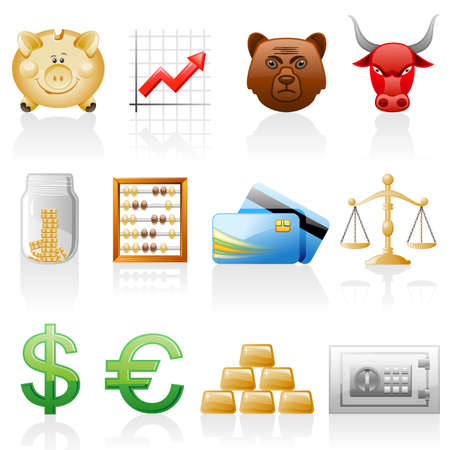 Finance icon set. Isolated on a white background. Stock Vector - 8953368