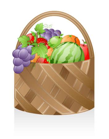 canasta de frutas: Cesta de frutas aislada sobre fondo blanco.