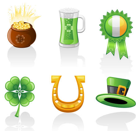 St. Patricks Day  icon set. Isolated on a white background. Vector